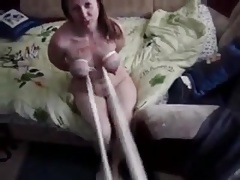 Getting her tied breasts jiggled and tugged