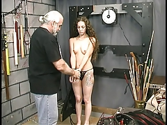 Master Len loves to tie up and whip his gorgeous young brunette victim